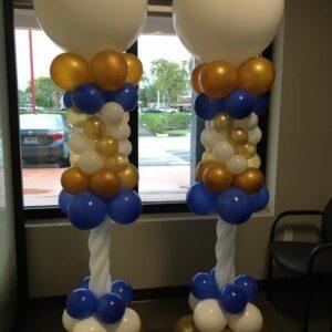 Balloons Column White, Blue & Gold